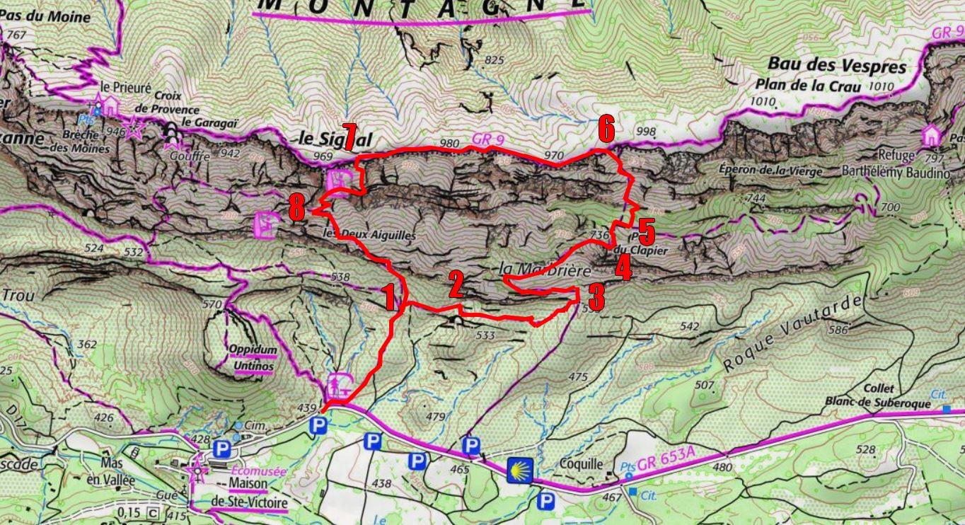 montagne sainte victoire carte La Sainte Victoire, les Cantilènes, Van Gogh et moi   Carnets de Rando